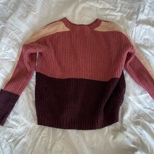 Pink color blocked sweater